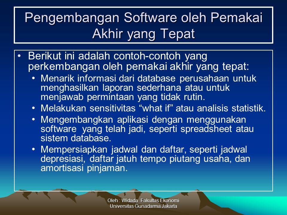 Oleh : Widada Fakultas Ekonomi Universitas Gunadarma Jakarta Pengembangan Software oleh Pemakai Akhir yang Tepat Berikut ini adalah contoh-contoh yang