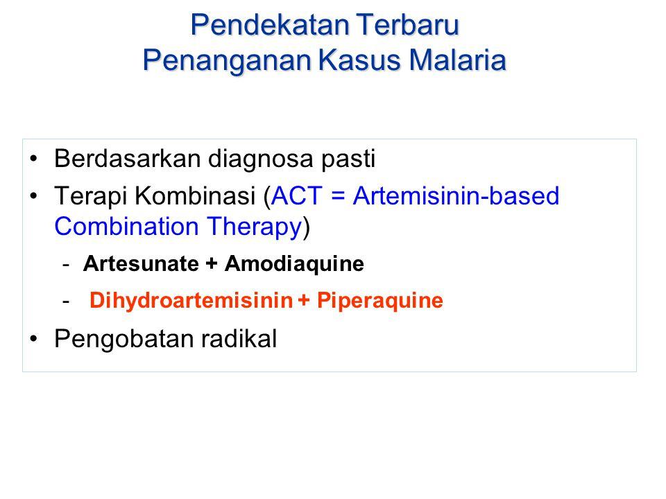 Pendekatan Terbaru Penanganan Kasus Malaria Berdasarkan diagnosa pasti Terapi Kombinasi (ACT = Artemisinin-based Combination Therapy) -Artesunate + Am