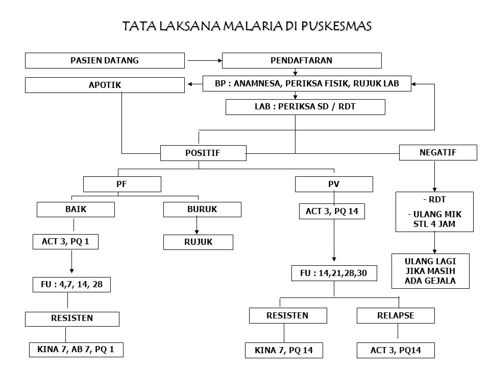 IBU HAMIL KUNJUNGAN PERTAMA dan Kunjungan berikutnya dengan gejala malaria PEMERIKSAAN ANC, KONSELING & SKRINING MALARIA Dengan RDT atau MIKROSKOP POSITIF P.falcifarum atau P.vivax atau Mix (P.falcifarum dan P.vivax) NEGATIF TRIMESTER 1 Kina 3x2 (7 hari) TRIMESTER 2-3 ACT* (3 hari) DENGAN GEJALA PERIKSA ULANG SEDIAAN DARAH POSITIFNEGATIF MEMBAIKTAK ADA PERBAIKAN LANJUTKAN ANC LLIN ZAT BESI/FOLAT NUTRISI RUJUK SEGERA *Artesunate (4 – 4 -4) + Amodiaquin (4-4-4) atau Dihydroartemisinin + Piperaquin (DHP) 3-3-3 TANPA GEJALA LANJUTKAN ANC LLIN ZAT BESI/FOLAT NUTRISI