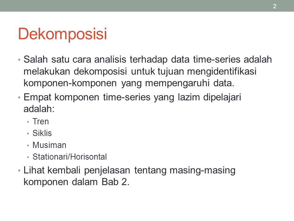 2 Salah satu cara analisis terhadap data time-series adalah melakukan dekomposisi untuk tujuan mengidentifikasi komponen-komponen yang mempengaruhi da
