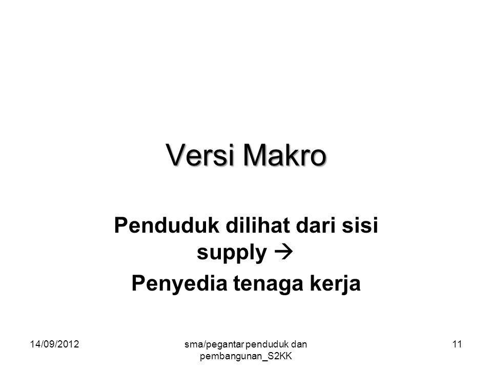 Versi Makro Penduduk dilihat dari sisi supply  Penyedia tenaga kerja 14/09/2012sma/pegantar penduduk dan pembangunan_S2KK 11