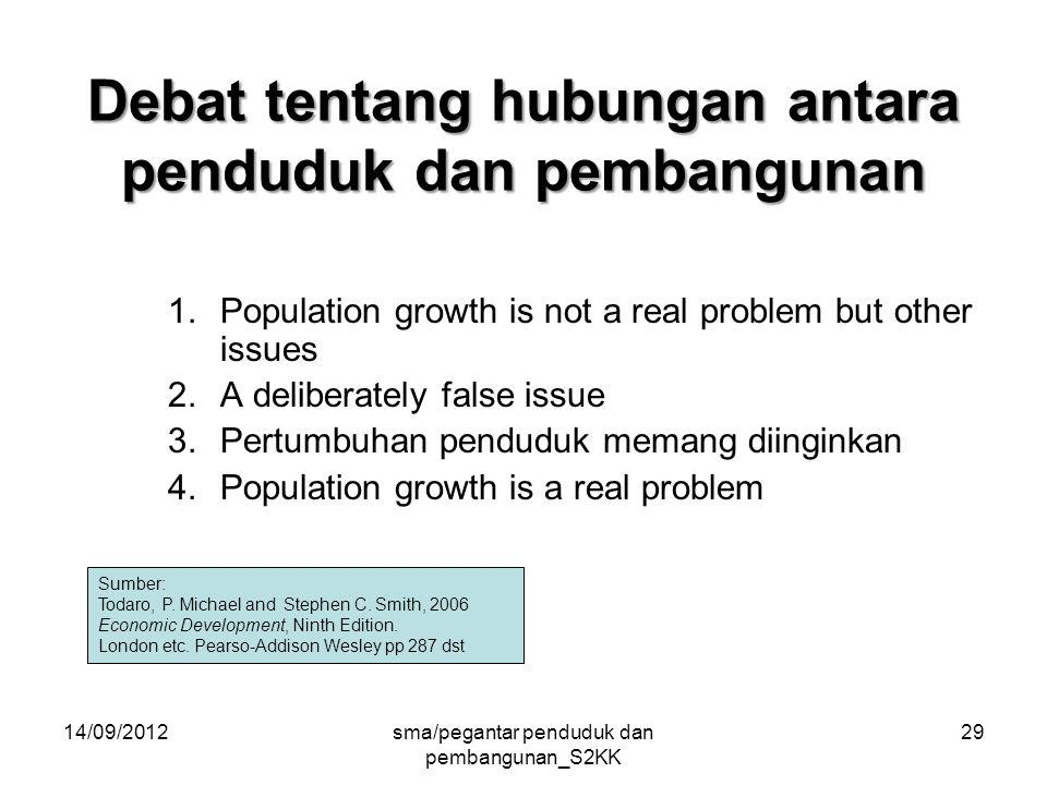 14/09/2012sma/pegantar penduduk dan pembangunan_S2KK 29 Debat tentang hubungan antara penduduk dan pembangunan 1.Population growth is not a real problem but other issues 2.A deliberately false issue 3.Pertumbuhan penduduk memang diinginkan 4.Population growth is a real problem Sumber: Todaro, P.