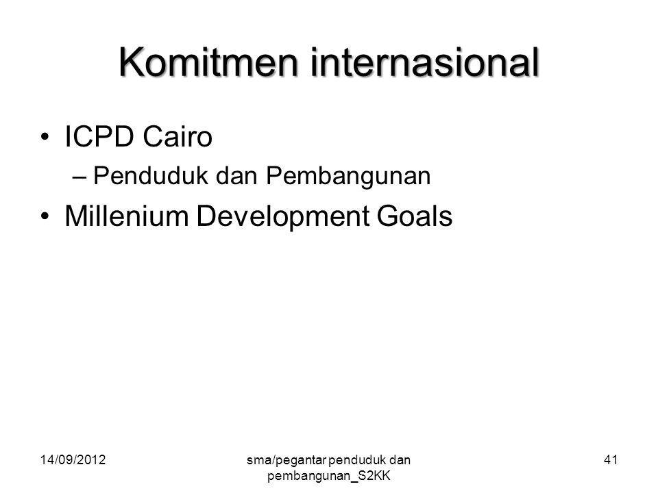 Komitmen internasional ICPD Cairo –Penduduk dan Pembangunan Millenium Development Goals 14/09/2012sma/pegantar penduduk dan pembangunan_S2KK 41