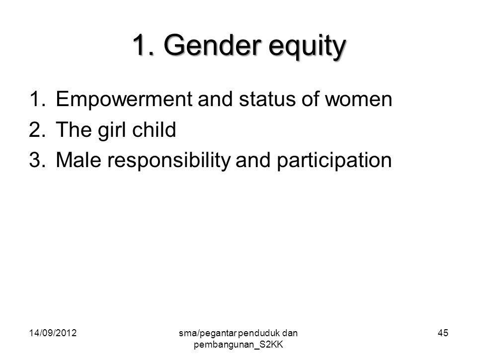 1. Gender equity 1.Empowerment and status of women 2.The girl child 3.Male responsibility and participation 14/09/2012sma/pegantar penduduk dan pemban