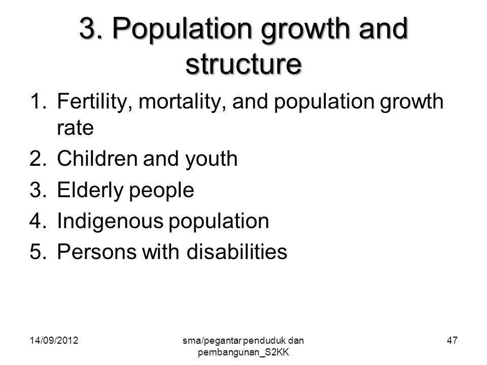 3. Population growth and structure 1.Fertility, mortality, and population growth rate 2.Children and youth 3.Elderly people 4.Indigenous population 5.