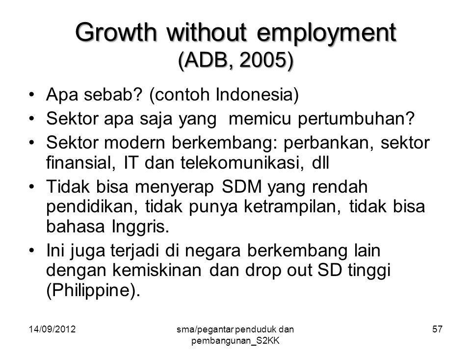 14/09/2012sma/pegantar penduduk dan pembangunan_S2KK 57 Growth without employment (ADB, 2005) Apa sebab.