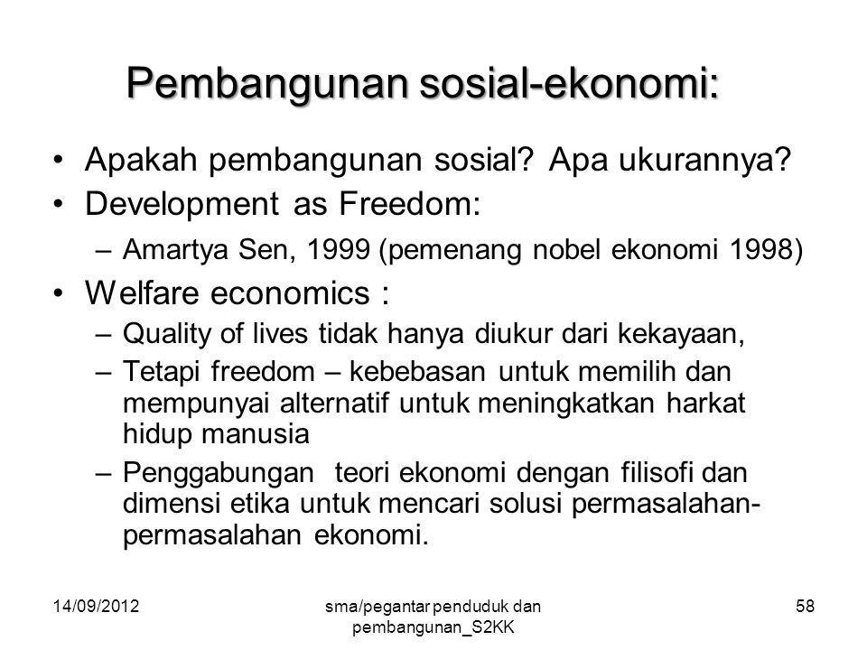 14/09/2012sma/pegantar penduduk dan pembangunan_S2KK 58 Pembangunan sosial-ekonomi: Apakah pembangunan sosial.