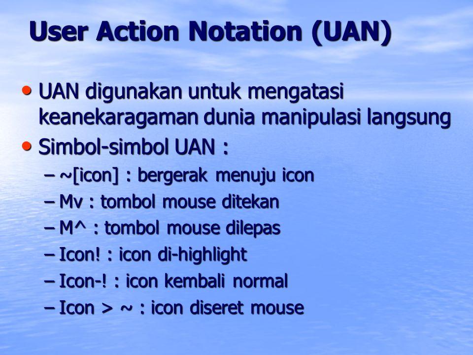 User Action Notation (UAN) UAN digunakan untuk mengatasi keanekaragaman dunia manipulasi langsung UAN digunakan untuk mengatasi keanekaragaman dunia m