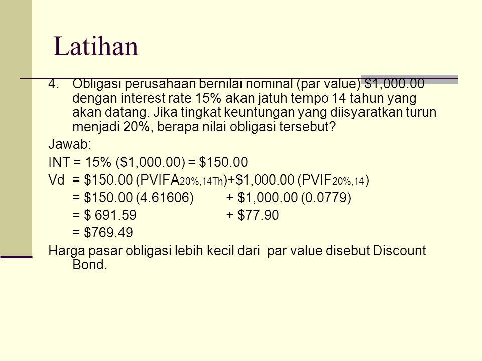 Latihan 4.Obligasi perusahaan bernilai nominal (par value) $1,000.00 dengan interest rate 15% akan jatuh tempo 14 tahun yang akan datang.