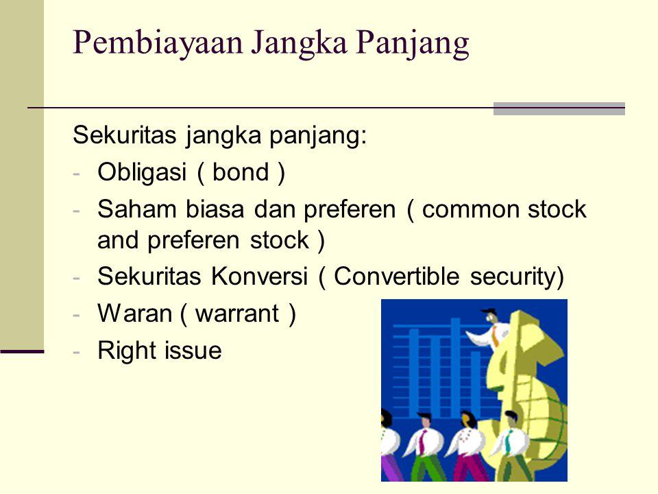 Pembiayaan Jangka Panjang Sekuritas jangka panjang: - Obligasi ( bond ) - Saham biasa dan preferen ( common stock and preferen stock ) - Sekuritas Konversi ( Convertible security) - Waran ( warrant ) - Right issue