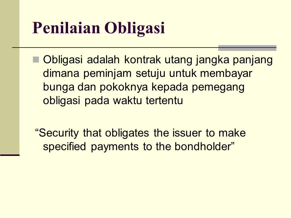 Penilaian Obligasi Obligasi adalah kontrak utang jangka panjang dimana peminjam setuju untuk membayar bunga dan pokoknya kepada pemegang obligasi pada waktu tertentu Security that obligates the issuer to make specified payments to the bondholder