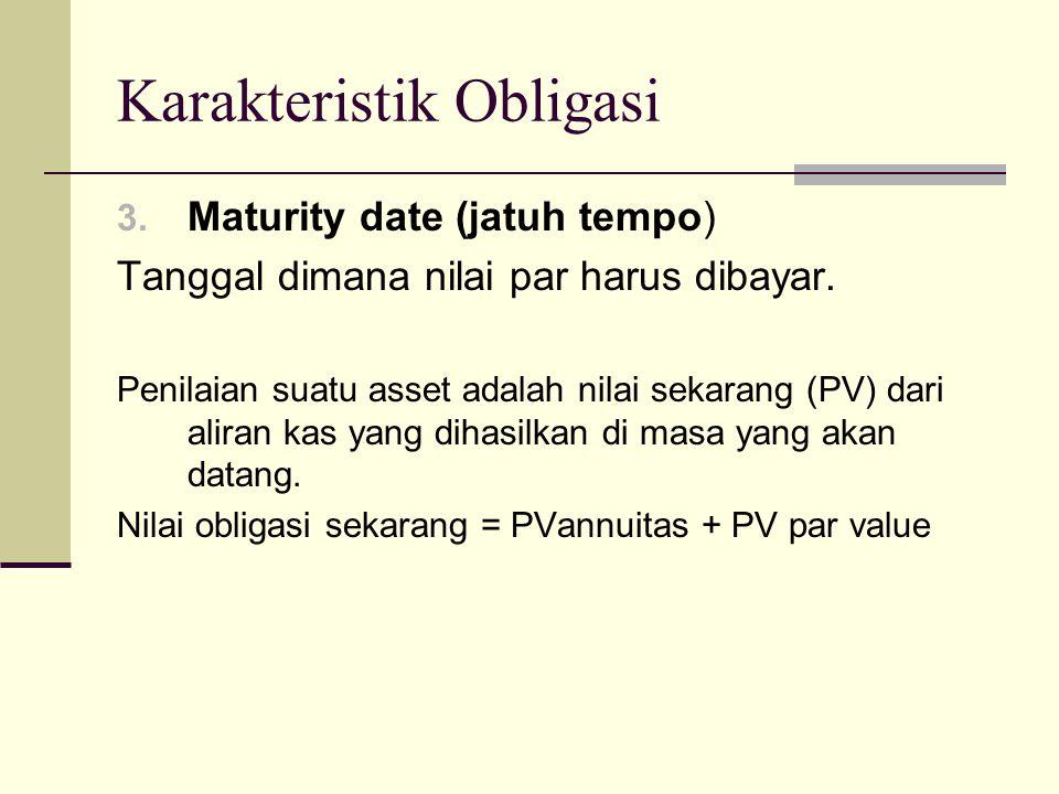 Karakteristik Obligasi 3. Maturity date (jatuh tempo) Tanggal dimana nilai par harus dibayar. Penilaian suatu asset adalah nilai sekarang (PV) dari al