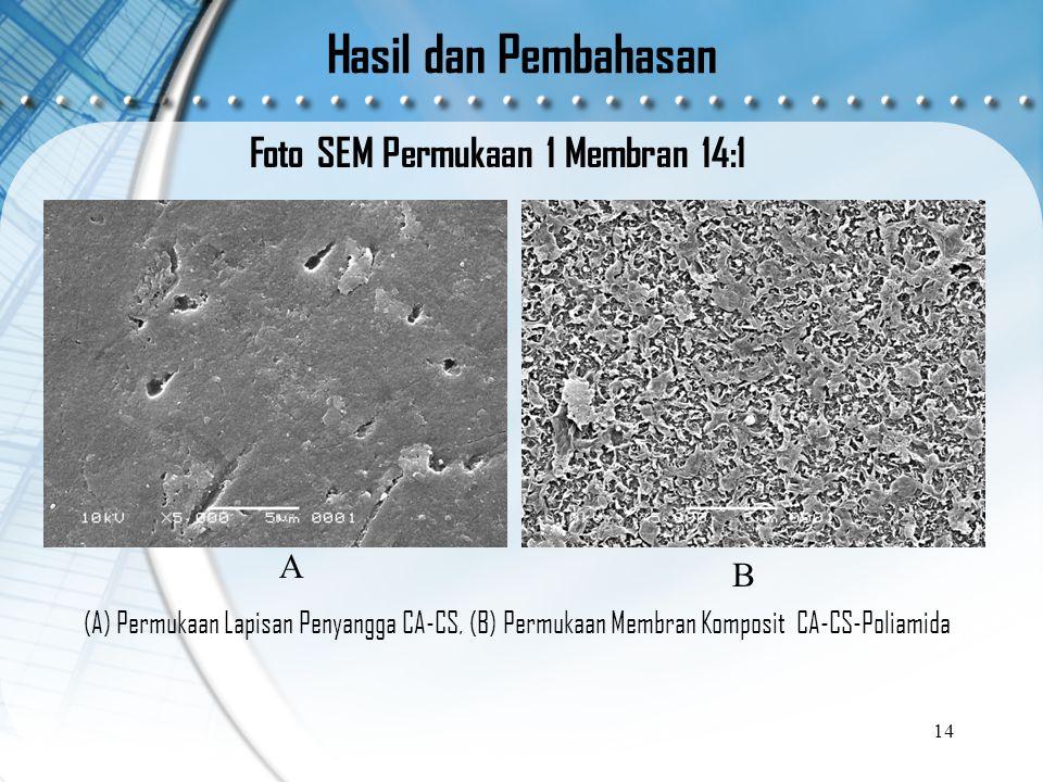 Hasil dan Pembahasan Foto SEM Permukaan 1 Membran 14:1 14 B A (A) Permukaan Lapisan Penyangga CA-CS, (B) Permukaan Membran Komposit CA-CS-Poliamida