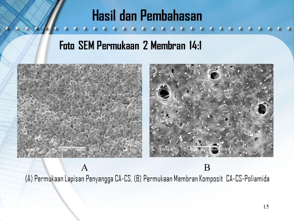 Hasil dan Pembahasan Foto SEM Permukaan 2 Membran 14:1 15 A (A) Permukaan Lapisan Penyangga CA-CS, (B) Permukaan Membran Komposit CA-CS-Poliamida B