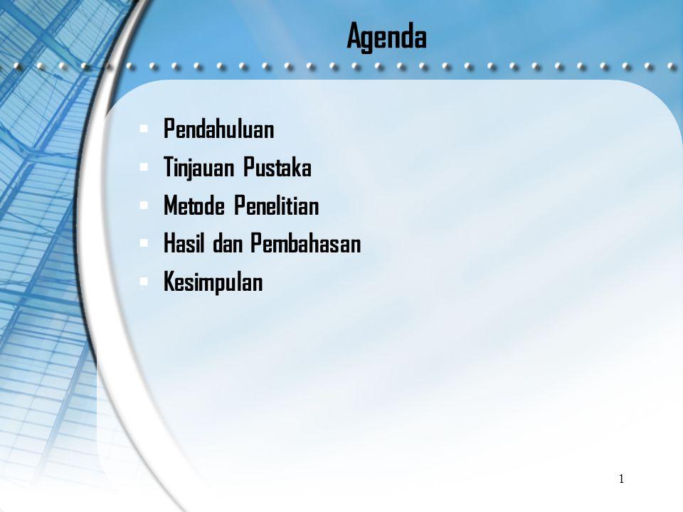 Agenda  Pendahuluan  Tinjauan Pustaka  Metode Penelitian  Hasil dan Pembahasan  Kesimpulan 1