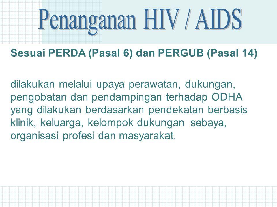 Sesuai PERDA (Pasal 6) dan PERGUB (Pasal 14) dilakukan melalui upaya perawatan, dukungan, pengobatan dan pendampingan terhadap ODHA yang dilakukan berdasarkan pendekatan berbasis klinik, keluarga, kelompok dukungan sebaya, organisasi profesi dan masyarakat.