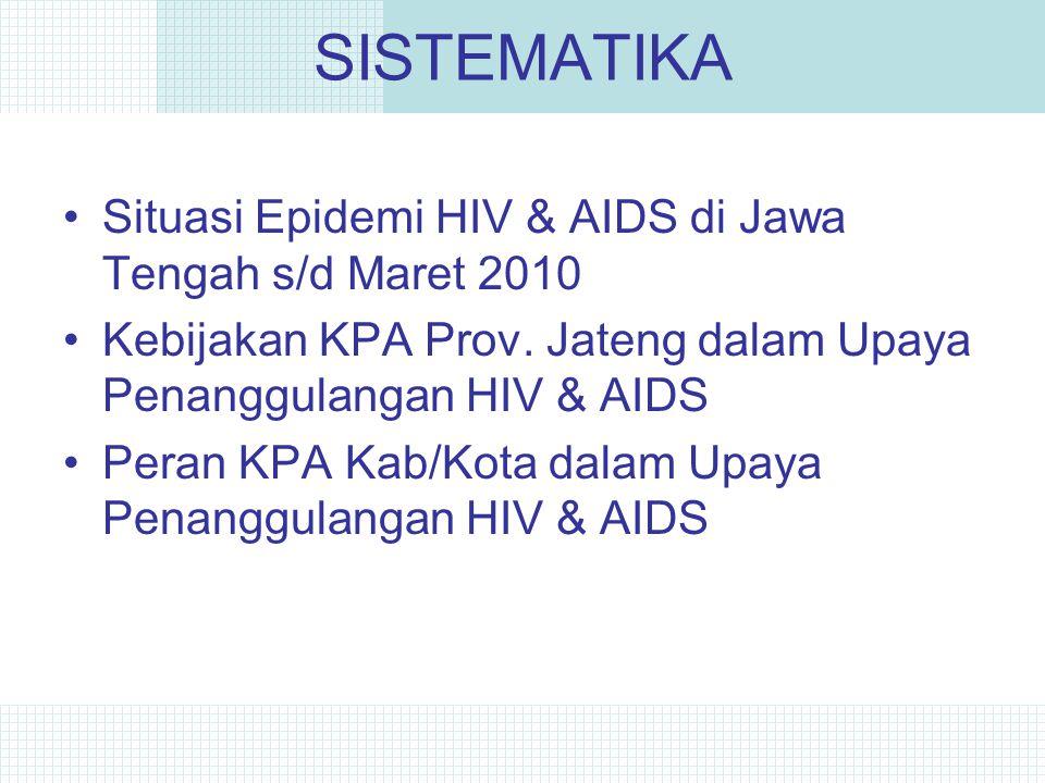 SISTEMATIKA Situasi Epidemi HIV & AIDS di Jawa Tengah s/d Maret 2010 Kebijakan KPA Prov.