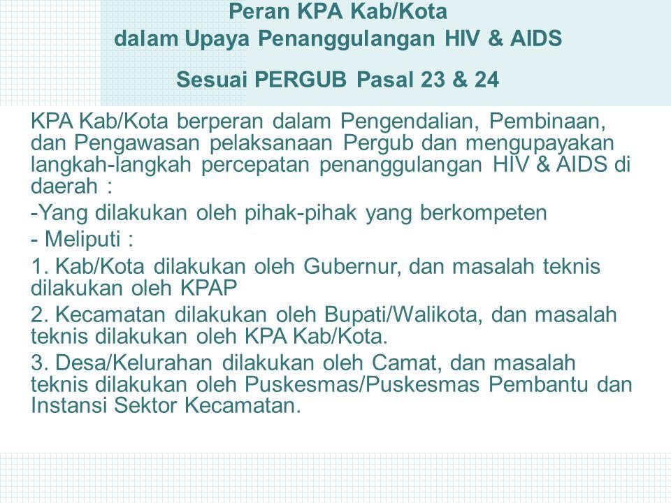 Peran KPA Kab/Kota dalam Upaya Penanggulangan HIV & AIDS Sesuai PERGUB Pasal 23 & 24 KPA Kab/Kota berperan dalam Pengendalian, Pembinaan, dan Pengawasan pelaksanaan Pergub dan mengupayakan langkah-langkah percepatan penanggulangan HIV & AIDS di daerah : -Yang dilakukan oleh pihak-pihak yang berkompeten - Meliputi : 1.
