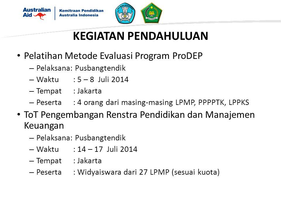 Pelatihan Metode Evaluasi Program ProDEP – Pelaksana: Pusbangtendik – Waktu: 5 – 8 Juli 2014 – Tempat: Jakarta – Peserta: 4 orang dari masing-masing LPMP, PPPPTK, LPPKS ToT Pengembangan Renstra Pendidikan dan Manajemen Keuangan – Pelaksana: Pusbangtendik – Waktu: 14 – 17 Juli 2014 – Tempat: Jakarta – Peserta: Widyaiswara dari 27 LPMP (sesuai kuota) KEGIATAN PENDAHULUAN