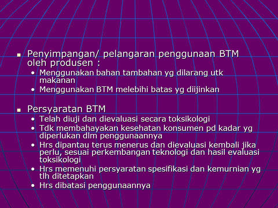 Penyimpangan/ pelangaran penggunaan BTM oleh produsen : Penyimpangan/ pelangaran penggunaan BTM oleh produsen : Menggunakan bahan tambahan yg dilarang utk makananMenggunakan bahan tambahan yg dilarang utk makanan Menggunakan BTM melebihi batas yg diijinkanMenggunakan BTM melebihi batas yg diijinkan Persyaratan BTM Persyaratan BTM Telah diuji dan dievaluasi secara toksikologiTelah diuji dan dievaluasi secara toksikologi Tdk membahayakan kesehatan konsumen pd kadar yg diperlukan dlm penggunaannyaTdk membahayakan kesehatan konsumen pd kadar yg diperlukan dlm penggunaannya Hrs dipantau terus menerus dan dievaluasi kembali jika perlu, sesuai perkembangan teknologi dan hasil evaluasi toksikologiHrs dipantau terus menerus dan dievaluasi kembali jika perlu, sesuai perkembangan teknologi dan hasil evaluasi toksikologi Hrs memenuhi persyaratan spesifikasi dan kemurnian yg tlh ditetapkanHrs memenuhi persyaratan spesifikasi dan kemurnian yg tlh ditetapkan Hrs dibatasi penggunaannyaHrs dibatasi penggunaannya
