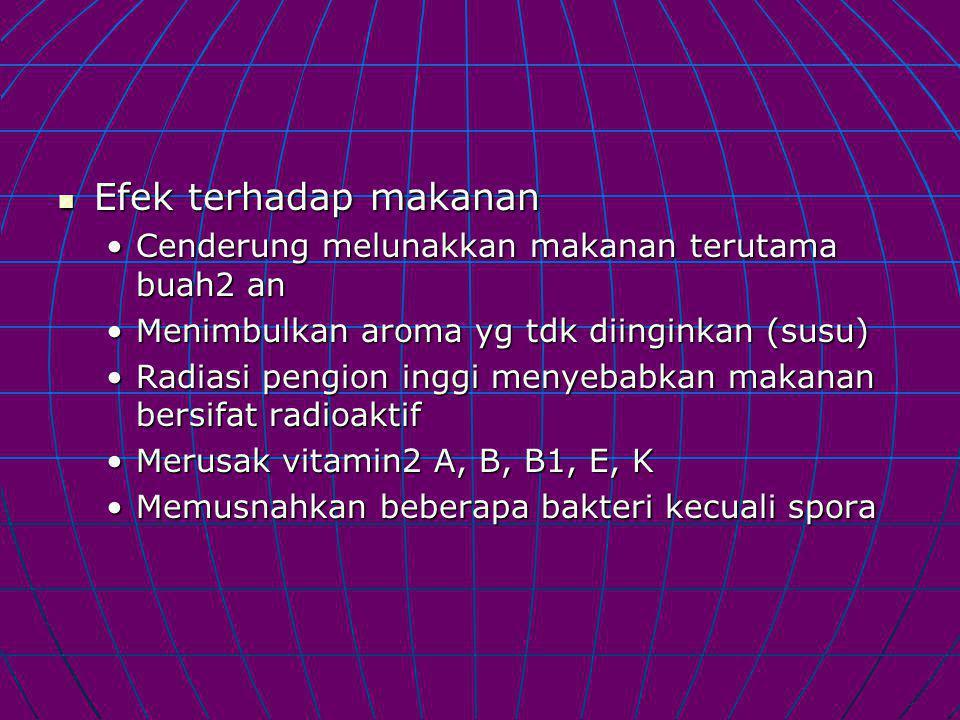 Efek terhadap makanan Efek terhadap makanan Cenderung melunakkan makanan terutama buah2 anCenderung melunakkan makanan terutama buah2 an Menimbulkan aroma yg tdk diinginkan (susu)Menimbulkan aroma yg tdk diinginkan (susu) Radiasi pengion inggi menyebabkan makanan bersifat radioaktifRadiasi pengion inggi menyebabkan makanan bersifat radioaktif Merusak vitamin2 A, B, B1, E, KMerusak vitamin2 A, B, B1, E, K Memusnahkan beberapa bakteri kecuali sporaMemusnahkan beberapa bakteri kecuali spora