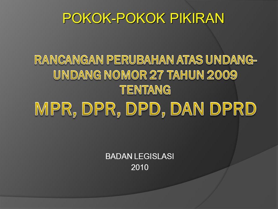 BADAN LEGISLASI 2010 POKOK-POKOK PIKIRAN