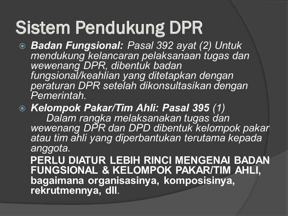  Badan Fungsional: Pasal 392 ayat (2) Untuk mendukung kelancaran pelaksanaan tugas dan wewenang DPR, dibentuk badan fungsional/keahlian yang ditetapkan dengan peraturan DPR setelah dikonsultasikan dengan Pemerintah.