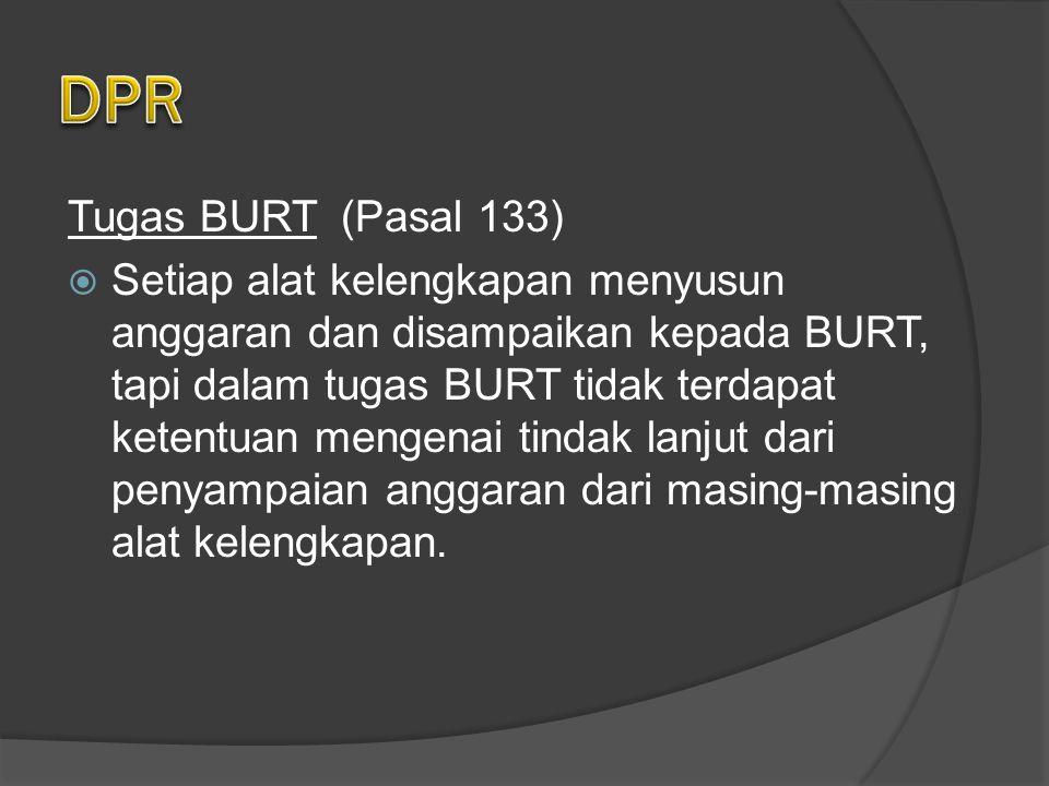 Tugas BURT (Pasal 133)  Setiap alat kelengkapan menyusun anggaran dan disampaikan kepada BURT, tapi dalam tugas BURT tidak terdapat ketentuan mengenai tindak lanjut dari penyampaian anggaran dari masing-masing alat kelengkapan.