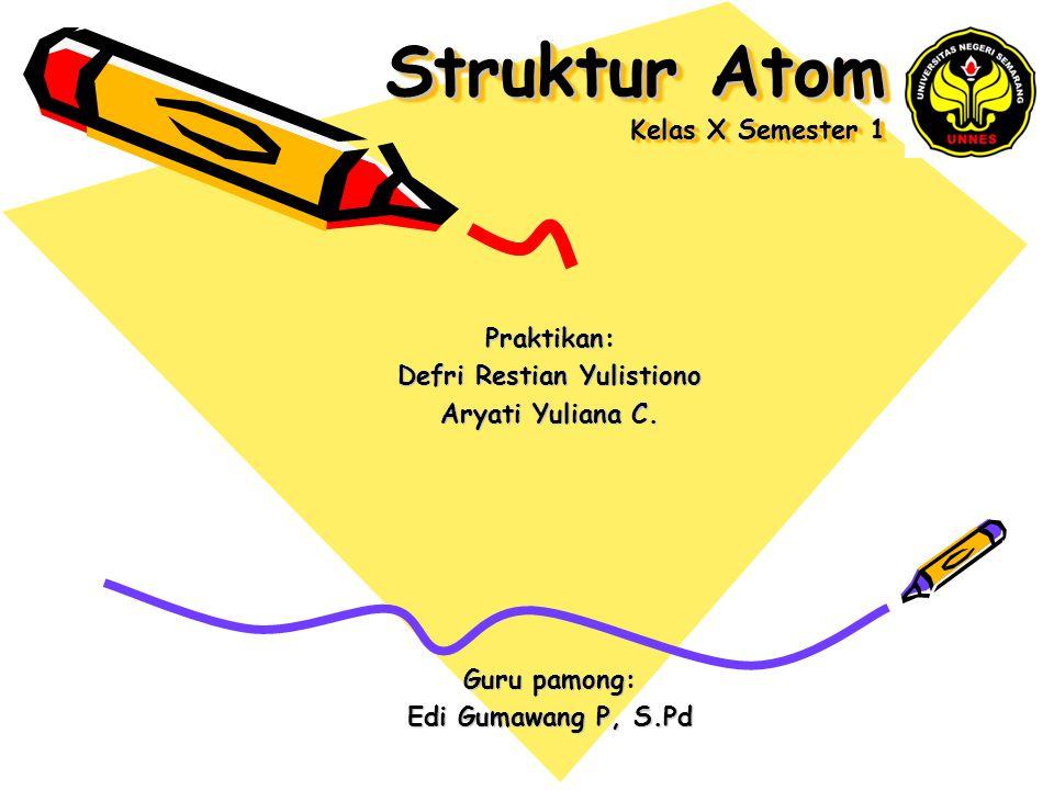 Struktur Atom Kelas X Semester 1 Praktikan: Defri Restian Yulistiono Aryati Yuliana C. Guru pamong: Edi Gumawang P, S.Pd