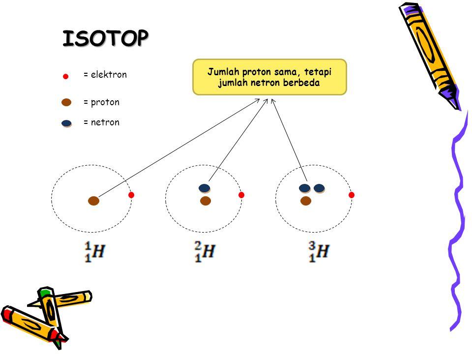 ISOTOP = elektron = proton = netron Jumlah proton sama, tetapi jumlah netron berbeda