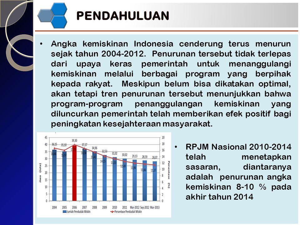 Angka kemiskinan Indonesia cenderung terus menurun sejak tahun 2004-2012.