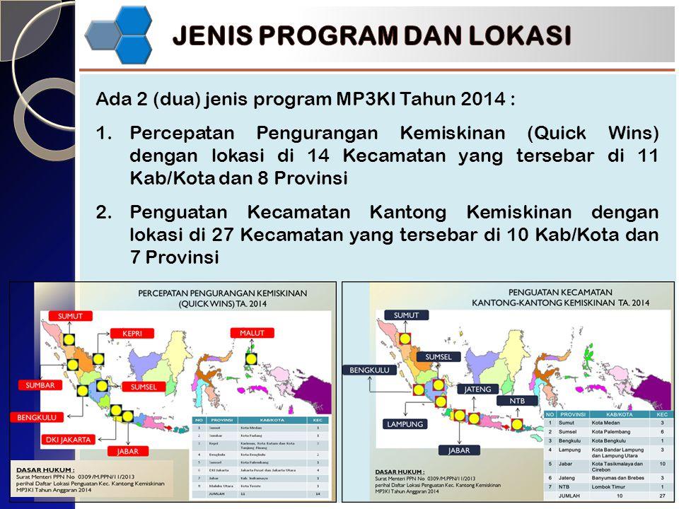 Ada 2 (dua) jenis program MP3KI Tahun 2014 : 1.Percepatan Pengurangan Kemiskinan (Quick Wins) dengan lokasi di 14 Kecamatan yang tersebar di 11 Kab/Kota dan 8 Provinsi 2.Penguatan Kecamatan Kantong Kemiskinan dengan lokasi di 27 Kecamatan yang tersebar di 10 Kab/Kota dan 7 Provinsi
