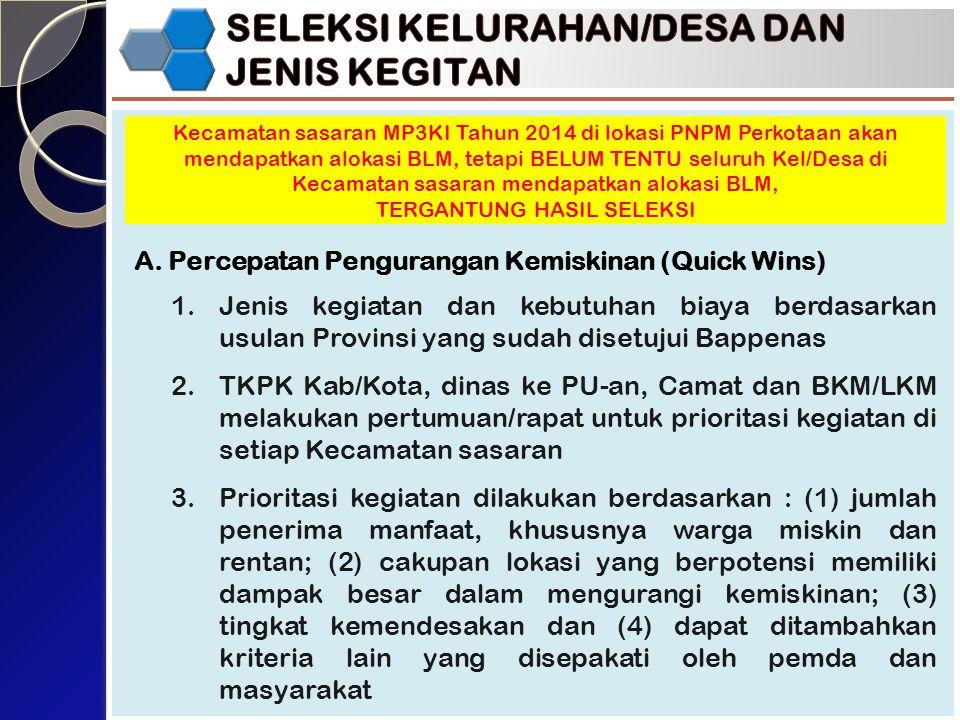 A. Percepatan Pengurangan Kemiskinan (Quick Wins) Kecamatan sasaran MP3KI Tahun 2014 di lokasi PNPM Perkotaan akan mendapatkan alokasi BLM, tetapi BEL