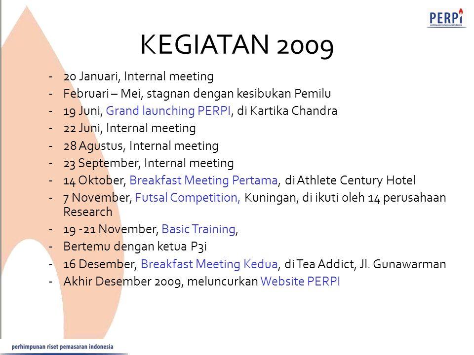 KEGIATAN 2009 -20 Januari, Internal meeting -Februari – Mei, stagnan dengan kesibukan Pemilu -19 Juni, Grand launching PERPI, di Kartika Chandra -22 J