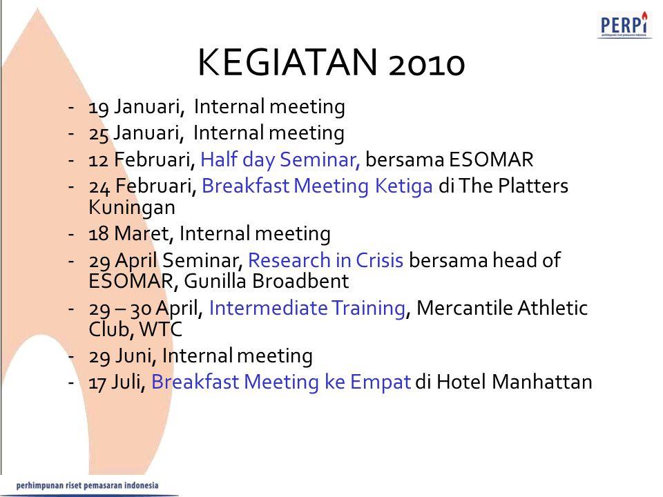 KEGIATAN 2010 -19 Januari, Internal meeting -25 Januari, Internal meeting -12 Februari, Half day Seminar, bersama ESOMAR -24 Februari, Breakfast Meeti