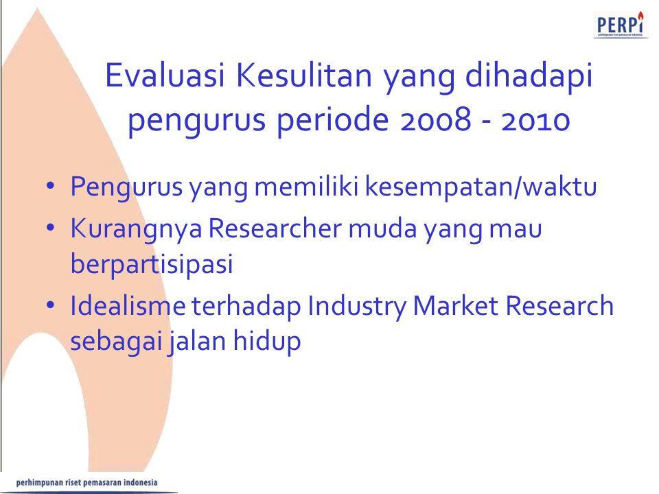 Evaluasi Kesulitan yang dihadapi pengurus periode 2008 - 2010 Pengurus yang memiliki kesempatan/waktu Kurangnya Researcher muda yang mau berpartisipas