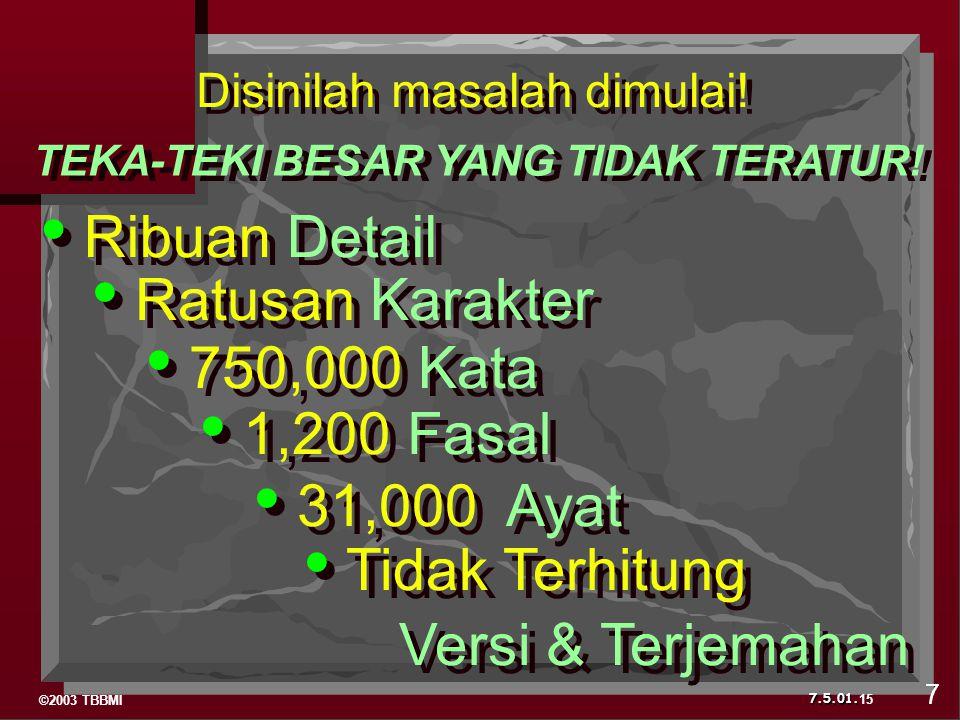 ©2003 TBBMI 7.5.01. Ribuan Detail Ratusan Karakter 750,000 Kata 1,200 Fasal 31,000 Ayat Tidak Terhitung Versi & Terjemahan Disinilah masalah dimulai!