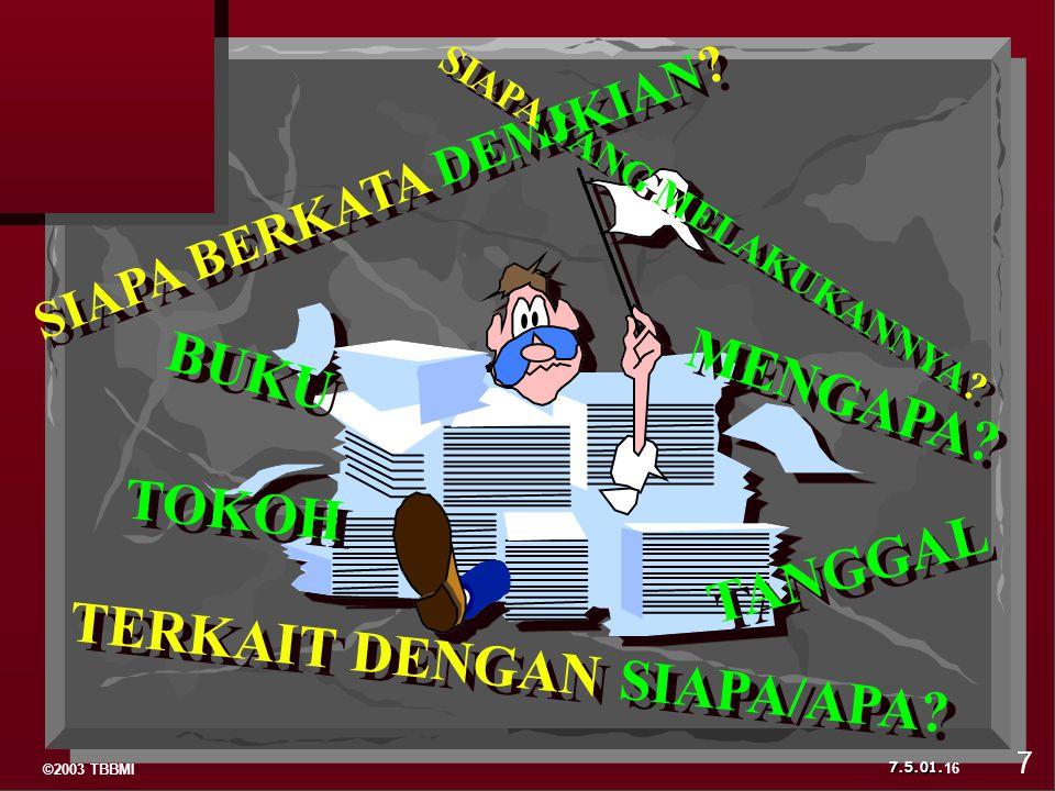 ©2003 TBBMI 7.5.01.BUKU TOKOH TANGGAL SIAPA BERKATA DEMIKIAN.
