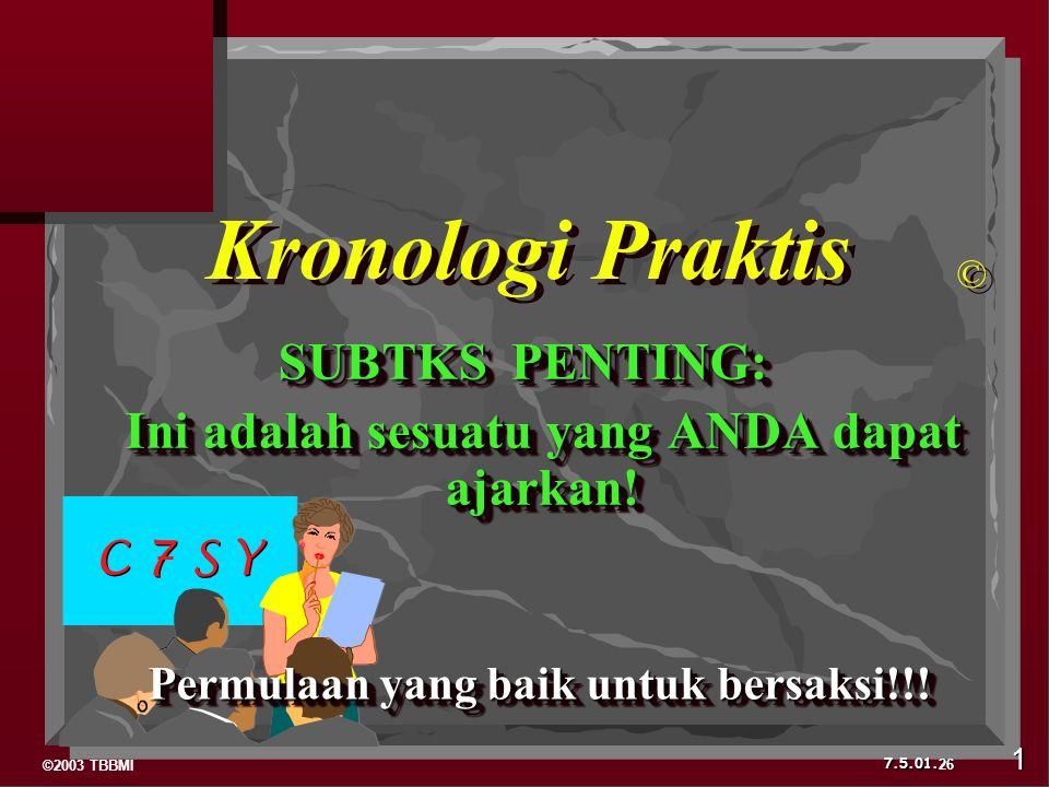 ©2003 TBBMI 7.5.01. SUBTKS PENTING: Ini adalah sesuatu yang ANDA dapat ajarkan! Ini adalah sesuatu yang ANDA dapat ajarkan! SUBTKS PENTING: Ini adalah
