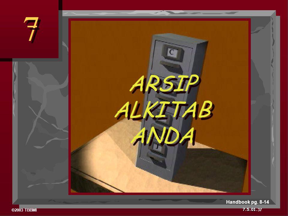 ©2003 TBBMI 7.5.01. 7 7 ARSIP ALKITAB ANDA ARSIP ALKITAB ANDA 37 Handbook pg. 8-14