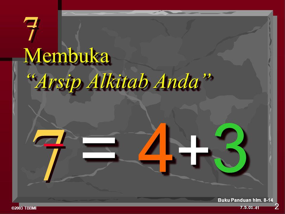 ©2003 TBBMI 7.5.01. 7 7 7 7 Membuka Arsip Alkitab Anda = 4 + 3 41 2 Buku Panduan hlm. 8-14