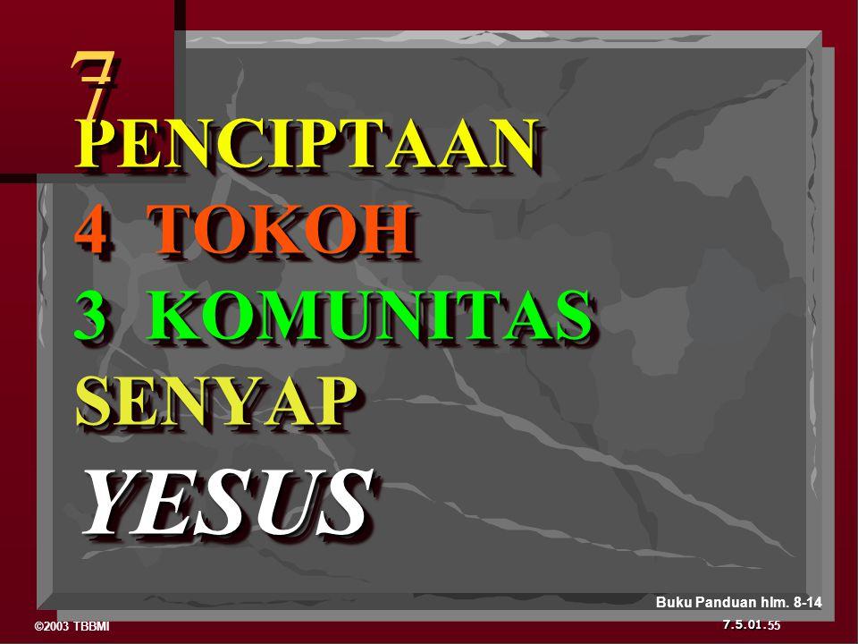 ©2003 TBBMI 7.5.01. PENCIPTAAN 4 TOKOH 3 KOMUNITAS SENYAP YESUS 7 7 55 Buku Panduan hlm. 8-14