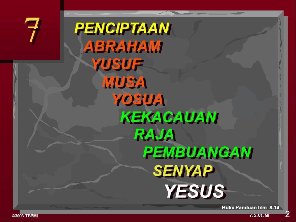 ©2003 TBBMI 7.5.01. PENCIPTAAN ABRAHAM YUSUF MUSA YOSUA KEKACAUAN RAJA PEMBUANGAN SENYAP YESUS 7 7 56 2 Buku Panduan hlm. 8-14