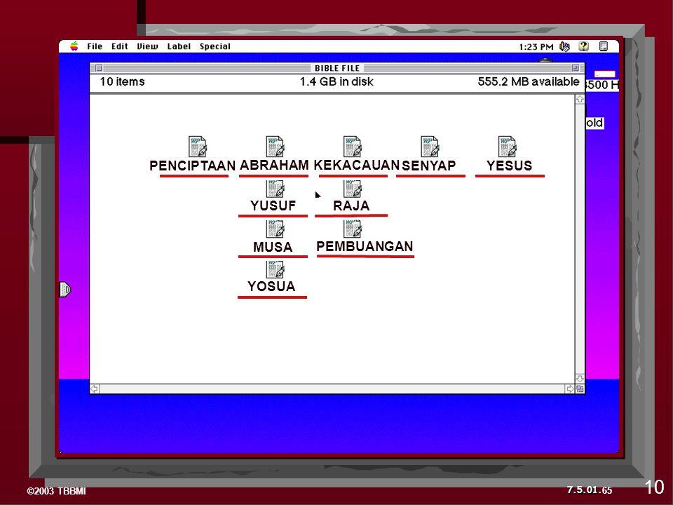 ©2003 TBBMI 7.5.01. C C 65 10 YESUSPENCIPTAAN ABRAHAMKEKACAUAN SENYAP YUSUFRAJA MUSA PEMBUANGAN YOSUA