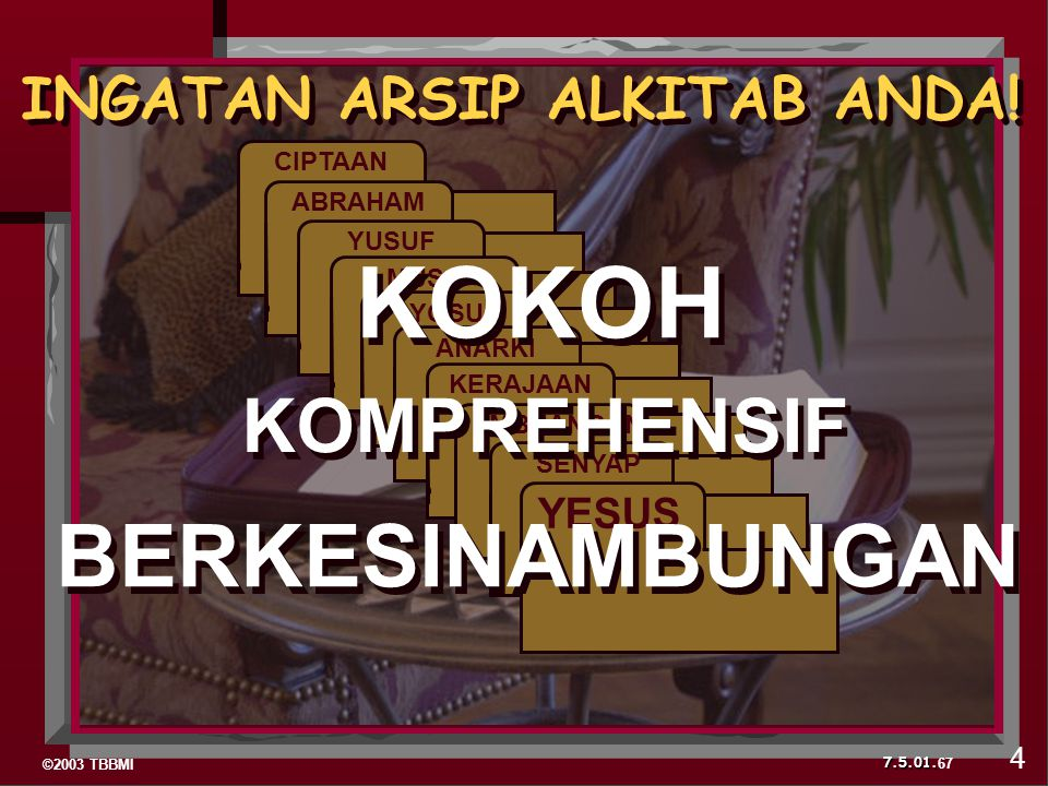 ©2003 TBBMI 7.5.01. CIPTAAN ABRAHAM YUSUF MUSA YOSUA ANARKI KERAJAAN PEMBUANGAN SENYAP YESUS 67 INGATAN ARSIP ALKITAB ANDA! KOKOH KOMPREHENSIF BERKESI