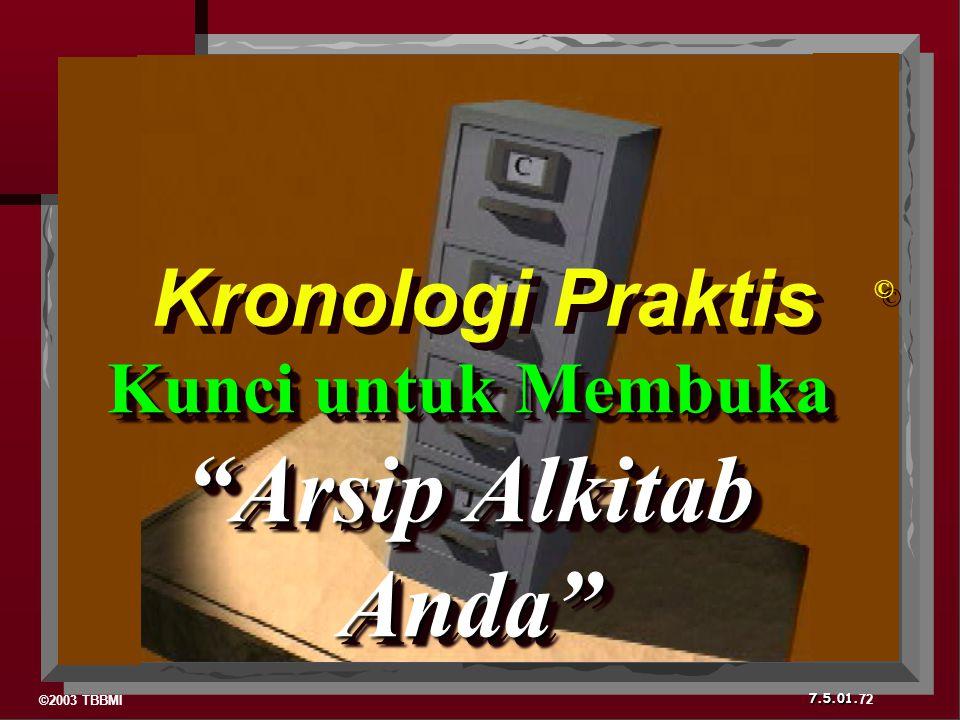©2003 TBBMI 7.5.01. 72 © © Kronologi Praktis Kunci untuk Membuka Arsip Alkitab Anda