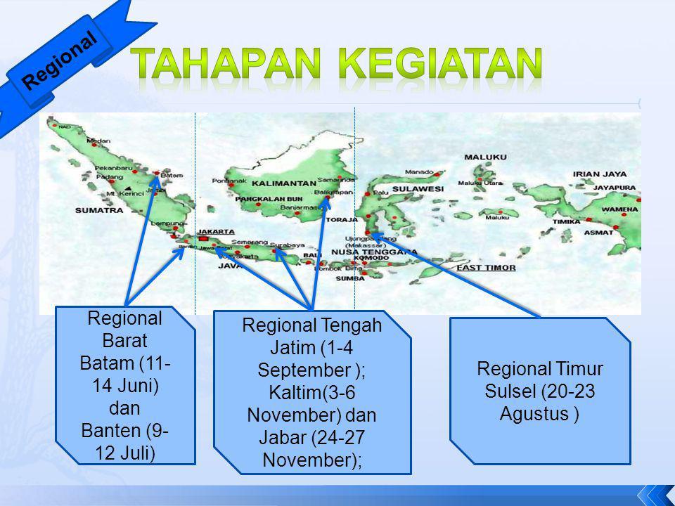 Regional Regional Barat Batam (11- 14 Juni) dan Banten (9- 12 Juli) Regional Tengah Jatim (1-4 September ); Kaltim(3-6 November) dan Jabar (24-27 Nove