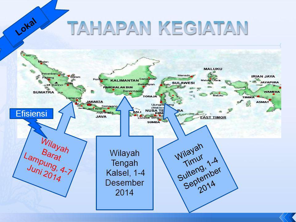 Wilayah Barat Lampung, 4-7 Juni 2014 Wilayah Tengah Kalsel, 1-4 Desember 2014 Wilayah Timur Sulteng, 1-4 September 2014 Efisiensi Lokal