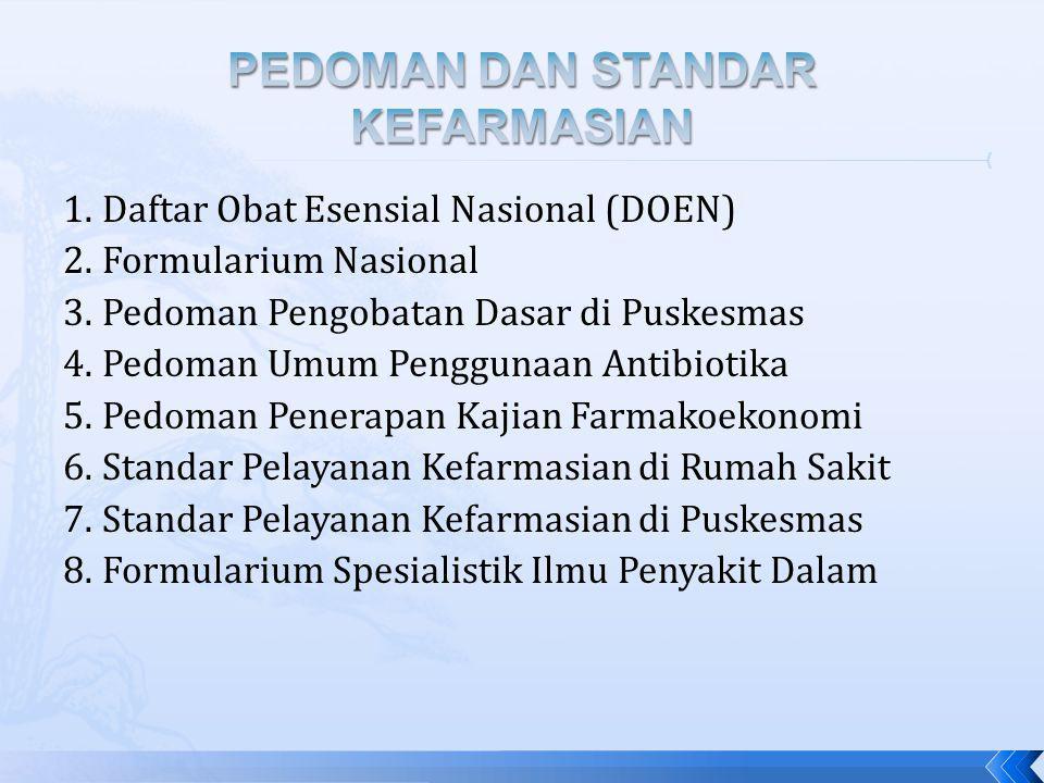 1.Daftar Obat Esensial Nasional (DOEN) 2.Formularium Nasional 3.Pedoman Pengobatan Dasar di Puskesmas 4.Pedoman Umum Penggunaan Antibiotika 5.Pedoman