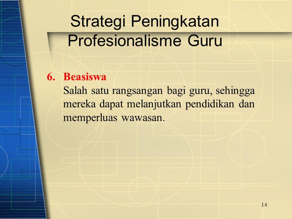 14 Strategi Peningkatan Profesionalisme Guru 6.Beasiswa Salah satu rangsangan bagi guru, sehingga mereka dapat melanjutkan pendidikan dan memperluas w